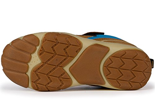 DADAWEN Kid's Outdoor Hiking Athletic Sneakers Strap Trail Running Shoes (Toddler/Little Kid/Big Kid) Brown US Size 5 M Big Kid by DADAWEN (Image #4)