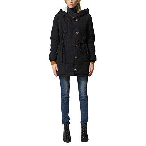 Uni Clau Women's Hooded Warm Winter Coats Plus Size Fleece Parkas With Faux Fur Jackets Outwear 2X-Large Black