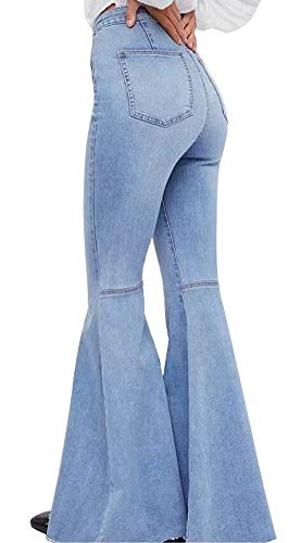 Women's Fashion Bell Bottom Pants High Waist Tassel Stretch Curvy Fit Jeans Light Blue, US 4/6