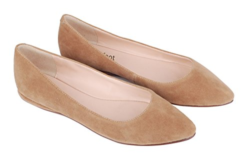Casual Toe queenfoot C Genuine Women's Flats Court Ballet Pointed Comfortable Pumps Suede Tan Leather Shoes suede rxXx4qOwgz