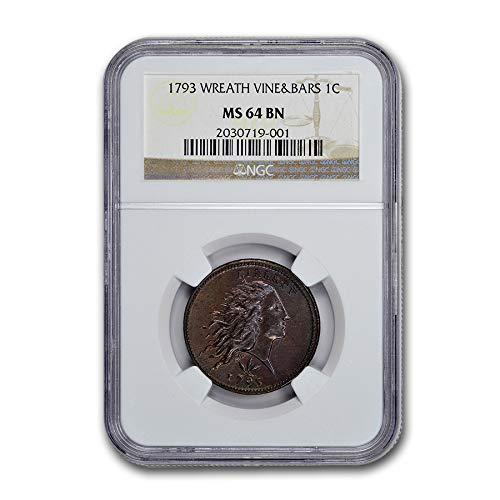 1793 Flowing Hair Wreath Large Cent MS-64 NGC (BN, Vine & Bars) Cent MS-64 NGC