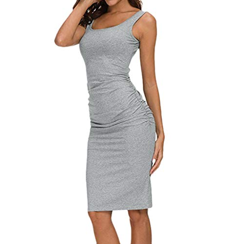 (Youmymind Women's Sling Solid Sheath Dress Summer Casual Sexy Evening Party Dresses (XL, Gray))