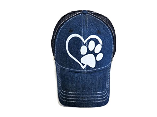 Spirit Caps White Glitter Paw Print Heart Blue Denim Trucker Cap Animal Dog Cat