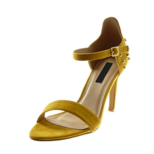 Angkorly Women's Fashion Shoes Sandals Pump Court Shoes - Ankle Strap - Stiletto - Pearl - Studded - Golden Stiletto High Heel 10 cm Yellow