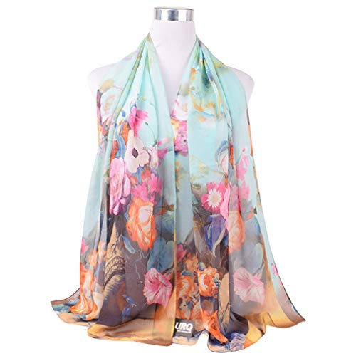 Flowers Chiffon Scarf for Women Polyester Silk Scarf Scarves Shawl P5A16564 Sky Blue by Chic-Dona