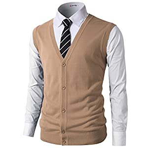 H2H Mens Casual Slim Fit Sweaters Vest Knitted Lightweight Thermal Button-Down