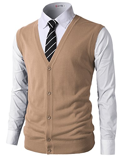 H2H Mens Casual Slim Fit Knitted V-Neck Button-Down Vests Of Various Colors