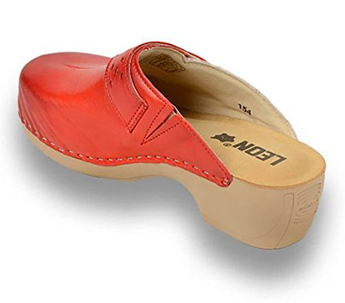 LEON PU154 Komfortschuhe Lederschuhe Pantolette Clog Damen Rot