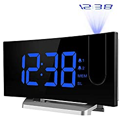 TOPELEK Projection Clock [Upgraded Model], Digital Alarm Clock with 4 Alarm Voice, Dual Alarm, 7'' Curved-Screen FM Radio Alarm Clock with Dimmer, Snooze Mode, Sleep Timer, USB Charging Port, Blue