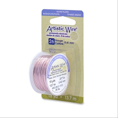Beadalon 26AWG-21 26 Gauge Permanent Colored Copper Wire, 15-Yard, Rose - Permanent Copper Wire Colored