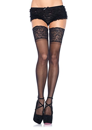 Leg Avenue Spandex - Leg Avenue Women's Lycra Sheer Thigh High Stockings with 5 Inch Silicone Stay Up Lace Top, Black