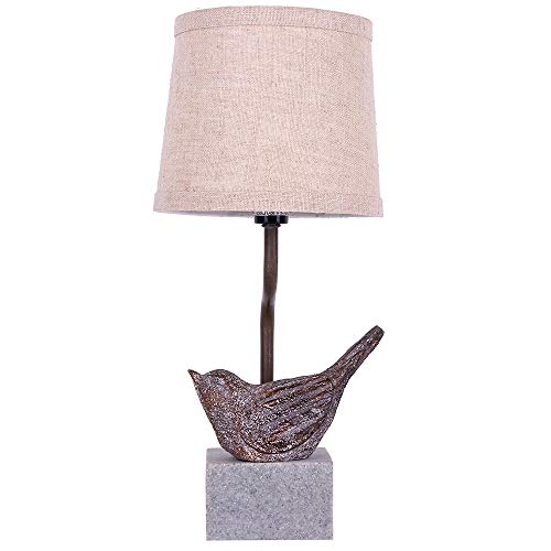 - DAINTIER Bedside Table Lamp for Bedroom Living Room Bird Metal Base Textured Fabric Lamp Shade