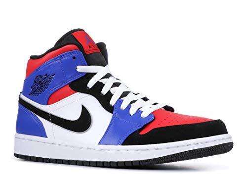 Nike Men's Air Jordan 1 Mid Basketball Shoe, White/Black/Hyper Royal/University Red, Size 13 (Air Jordan Ones Shoes)
