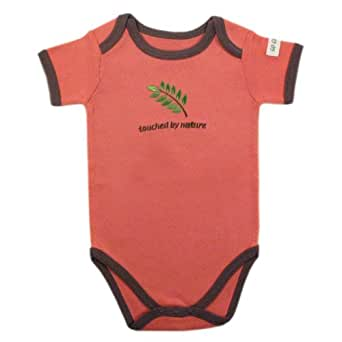 Hudson Baby Organic Touched By Nature Neutral Design Bodysuit, Coral-Leaf, Newborn