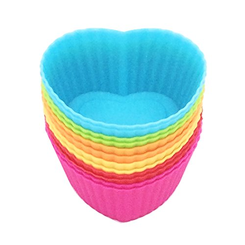 Silicone Baking Cups 12 Cupcake Muffin Liners Kids Bento Lunchbox Divider Accessories (Heart) (Cute Cupcake Pan compare prices)