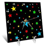 3dRose Alexis Design - America - Fifty Stars Of Freedom. Colorful stars against the black backdrop - 6x6 Desk Clock (dc_288372_1)