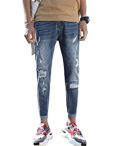 Chiaro Colore Slim Lavati Fori Stretch Da Skinny Fit Strappati Jeans Pantaloni 1802denim Di Cher Pants Uomo fCqw5BE6w