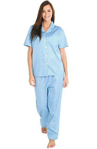 Del Rossa Women's Cotton Pajamas, Woven Pj Set with Pants, Medium Blue and White Striped (A0518N25MD)