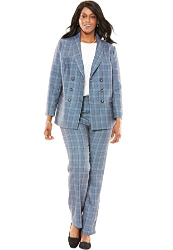 Jessica London Plus Size Petite Two Piece Double Breasted Pantsuit (Exotic Peacock Plaid,16 P) by Bargain Catalog Outlet