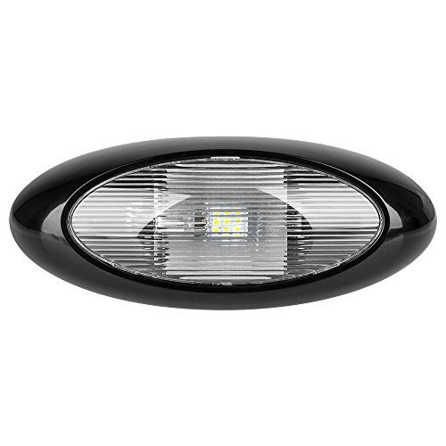 12 Quot Led Oval Scare Porch Light Clear Lens Black Base