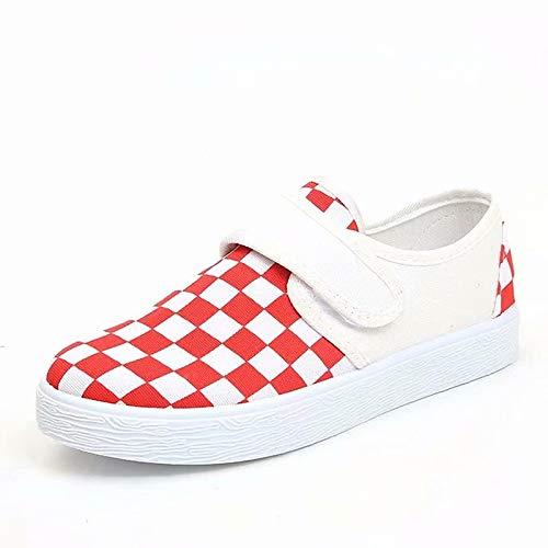 ZHZNVX Confort en Las Mujeres Zapatos de Punto/Lona Fall Casual Sneakers Flat Heel Round Toe Black/Red Red