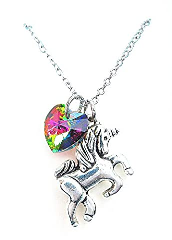 Little girl gift Unicorn Necklace with rainbow color heart crystal,rainbow unicorn necklace,Fairy Tale Necklace, Fantasy Necklace, Animal - Crystal Unicorn