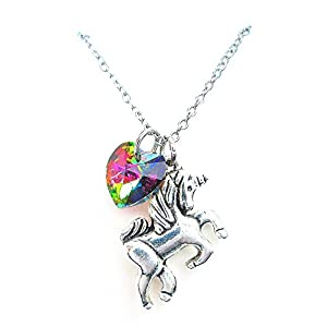 Girl Gift Unicorn Necklace with Rainbow Color Heart Crystal,Rainbow Unicorn Necklace,Fairy Tale Necklace, Fantasy Necklace, Animal Necklace