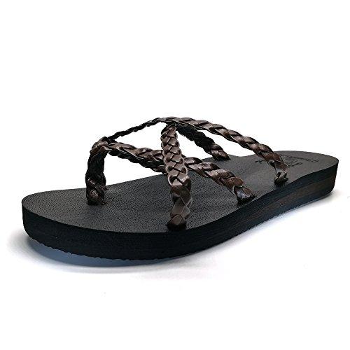 KuaiLu Yoga Mat Women's Braid Leather Flip Flops Arch Support Cross Strappy Thong Sandals Non Slip ()