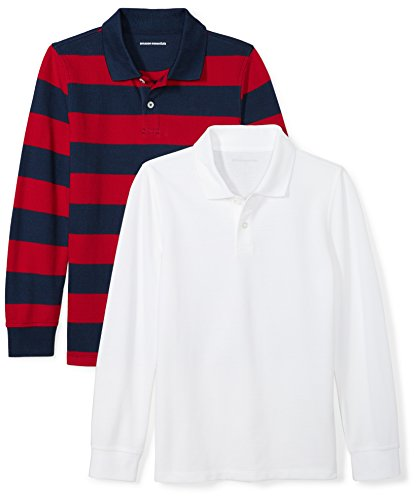- Amazon Essentials Big Boys' 2-Pack Long-Sleeve Pique Polo Shirt, Red/Rugby Navy Stripe/White, XL (12)