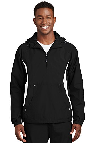 Sport Anorak - Sport-Tek Men's Colorblock Raglan Anorak XL Black/White