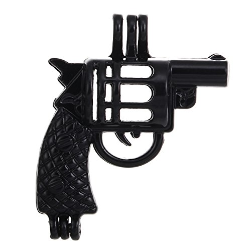 - 10pcs Black Revolver Gun Pearl Cage Beads Cage Locket Pendant Jewelry Making Supplies-For Oyster Pearls, Essential Oil Diffuser, Fun Gifts (Revolve Gun)