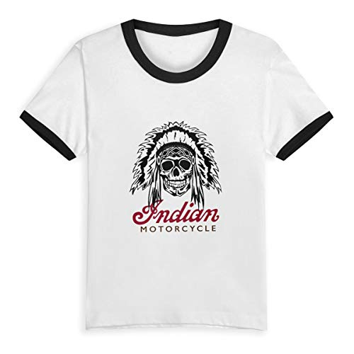 Indian-Motorcycle Unisex Kids Shirts Toddler Baby Cotton Tee Boys Girls Baseball Short Sleeve T-Shirt Top Clothes 2-6 Years White