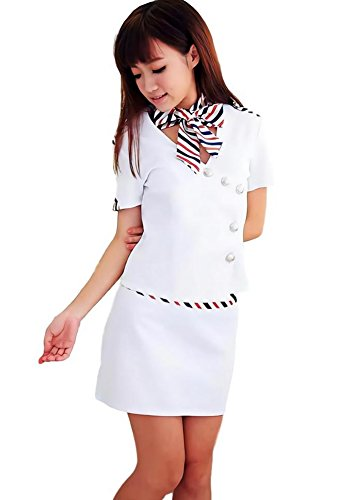 Wonder Woman Costume Hot (Beaumens stewardess costume for women plus size sexy adult hot scarf maid beer uniform halloween white L)