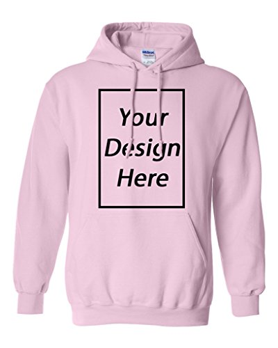 Add Your Own Text and Design Custom Personalized Sweatshirt Hoodie (Small, Light Pink)