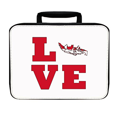 Love Indonesia Country Flag Map Insulated Lunch Box Bag by Style in Print