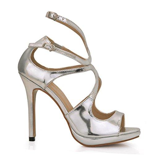 Toe Stiletto Heels Best Summer 4U Shoes Mirror 12CM Sandals Sole Rubber Summer Silver PU High Heel Women's Round X7wRqY