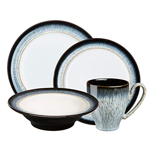 Denby HLO-16PC Halo 16 PC Wide Rimmed Cereal Bowls Dinnerware Set, One size, black; blue; ombre