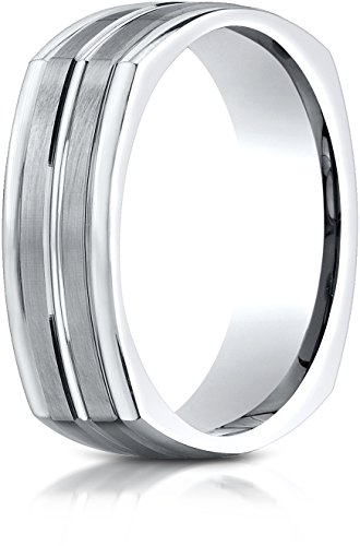 Benchmark 14K White Gold 7mm Comfort-Fit Satin-Finished Center Cut Four-Sided Carved Design Band, Sz (Benchmark 14k White Gold Band)