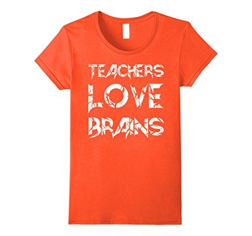 Womens Teachers love brains Shirt Funny Halloween Gift for Teachers XL Orange