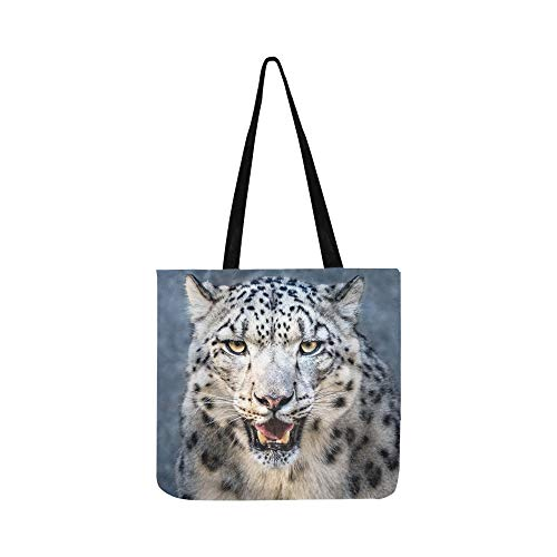 (Frontal Portrait Snow Leopard Showing Teeth Canvas Tote Handbag Shoulder Bag Crossbody Bags Purses For Men And Women Shopping Tote )