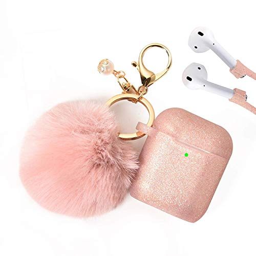 Airpods Case - Filoto Airpods Silicone Glitter Cute Case Cover with Pompom/Keychain/Strap for Apple Airpods 2&1, 2019 Newest 360° Protective Air Pods Charging Case Cover (Rose Gold)