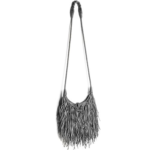 Faux Leather Bag Tassel Grey Body Purse Shoulder Fringed Hobo Messenger WALLYN'S Cross Handbag Bag Womens wx8HX4qYA