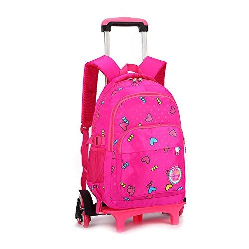 d0dd818f0c YUB Girls  School Bag Trolley Bag Rolling Backpacks with Wheels ...