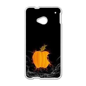 Pumpkin Apple Logo Computer3 HTC One M7 Cell Phone Case White yyfabc-426835