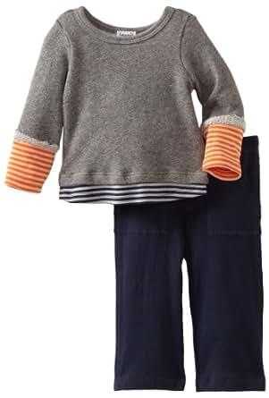 Splendid Littles Baby-boys Infant Colorblock Stripe Active Twofer Set, Navy/Carrot, 6-12 Months