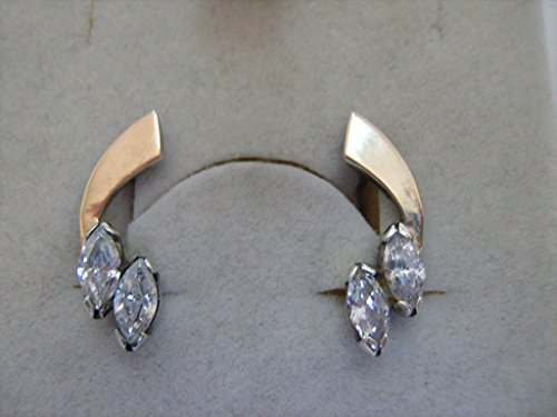 875 Sterling SIlver and 585 Real Gold Earrings Made In - Gold 875
