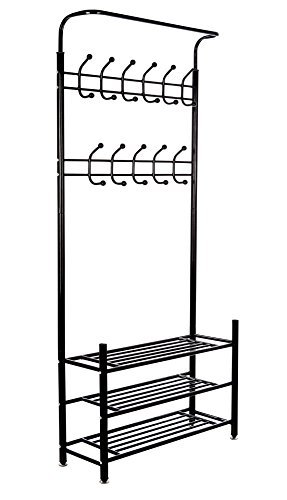 M.S. Premium Metal Hall Coat Rack Organizer with 3 Shelves 18 Hooks Free Standing Entryway Storage Bench Black