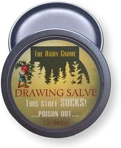 The Hairy Gnome Drawing Salve, This Stuff Sucks! Poison Out. Handmade with Organic Ingredients, 1 oz. Old Timey Plantain and Pine Tar Recipe for Infections, Splinters, and Boils. (3) (1)