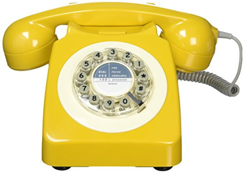 Wild Wood Rotary Design Retro Landline Phone for Home, English Mustard