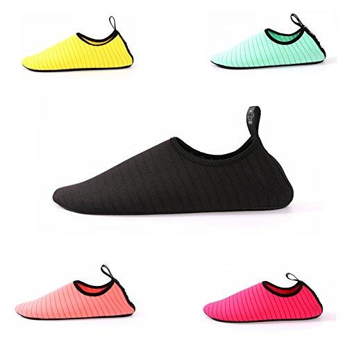 Wasserschuhe von CALISTOUK für Herren, Damen und Kinder, schnelltrocknende Schuhe zum Schwimmen, zum Spazieren, für Yoga, für Seen, für den Strand, für den Garten oder für den Park Schwarz
